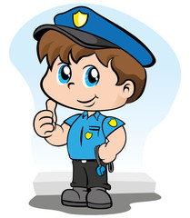 Child with police uniform holding a whistle