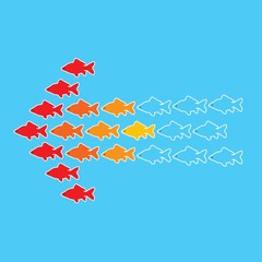 Illustration of goldfish forming an arrow