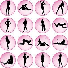 Illustration of Sexy Women Icon Set