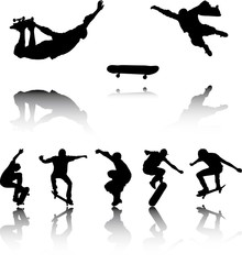 Illustration of Silhouettes of Skateboarders with reflection