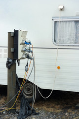 AC power sockets at a camping site