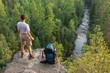 Hiker on big rock