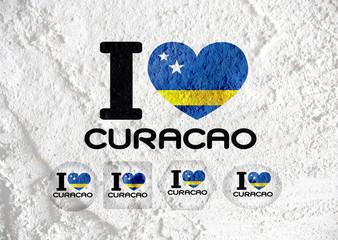 Curacao flag themes idea design on wall texture background