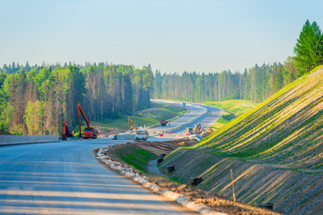 construction of a new highway, shot in the early morning