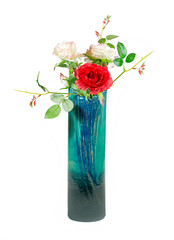 Vase with artificial roses