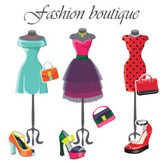 Set of  three colored dresses with accessories.Fashion illustrat