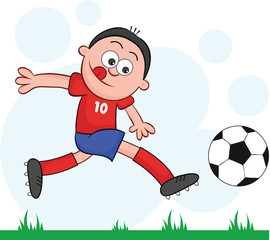Cartoon Soccer Player Leaping and Kicking