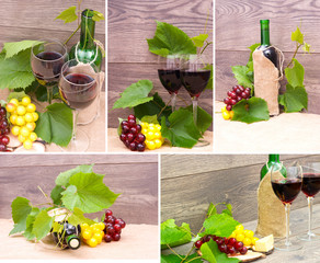 wine and fruits on wooden background