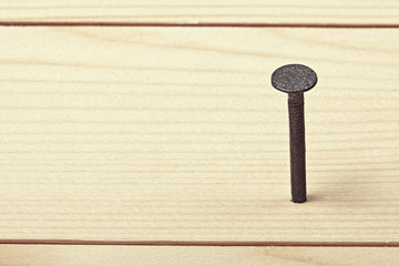 Nail in wood plank