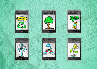 mobile phone apps eco concept idea illustration on wall texture