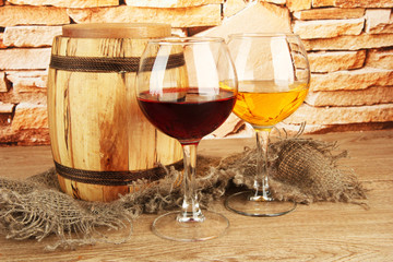 composition of wine and wooden barrel