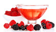 Jelly with fresh berries isolated on white