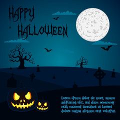 Halloween illustration of pumpkins at cemetery - blue night