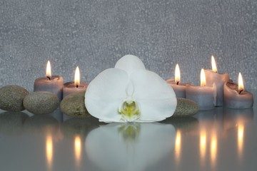 Weiße Orchideenblüte mit Kerzen