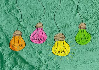 idea Light bulb icon on wall texture background design