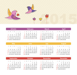 Calendar 2015 year with birds
