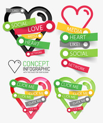 Vector social like heart infographic, tags