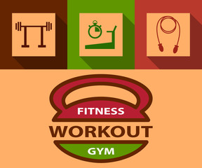 Illustration of sport flat icon and fitness emblem