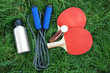 canvas print picture - Assortment of sport equipment on green grass background