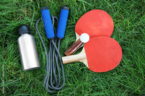 canvas print picture Assortment of sport equipment on green grass background