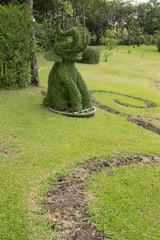 The Bending tree of elephant in garden