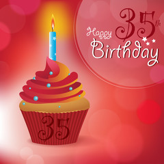 Happy 35th Birthday message -Bokeh Vector -cupcake & candle