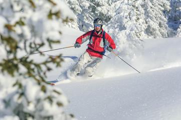 Skifahrer im winterlichen Märchenwald