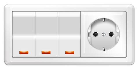 Wand - Lichtschalter mit Steckdose, freigestellt