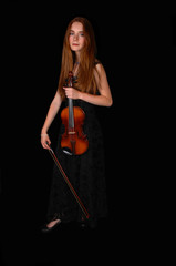 Standing woman with violin.