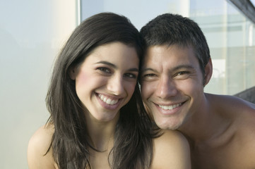 Close up of Hispanic couple smiling