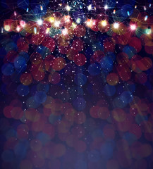 Christmas lights on bokeh background.