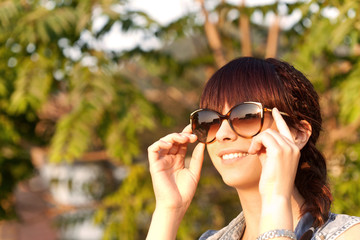 smiling girl enjoying the nature