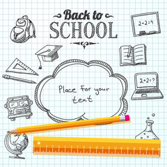 Back to school message on paper with speech bubble for your text