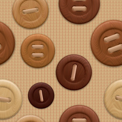 Seamless pattern of wooden clothing buttons.