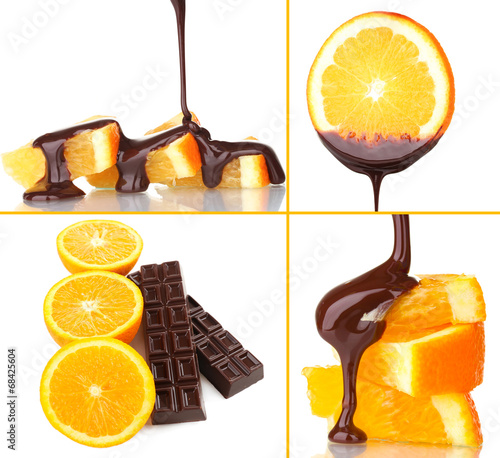 canvas print picture Tasty dessert collage - orange slices with chocolate isolated