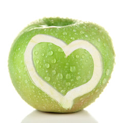 Juicy green apple with heart, isolated on white