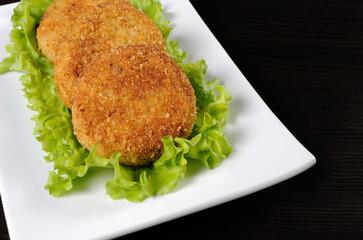 Chicken cutlets in breadcrumbs