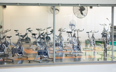 Empty spin studio with fans