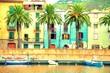 Leinwanddruck Bild - Boats on the river, Bosa, Sardinia