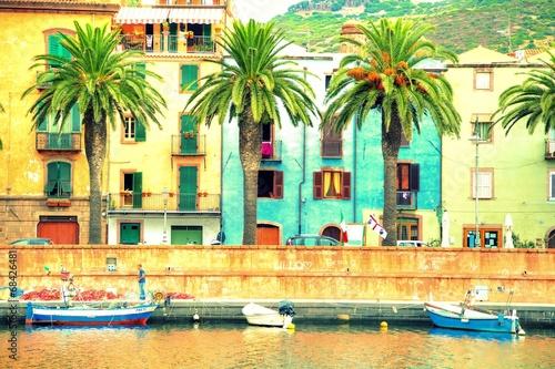 Leinwanddruck Bild Boats on the river, Bosa, Sardinia