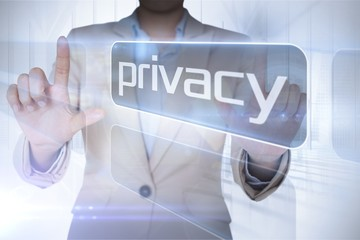 Businesswoman presenting the word privacy