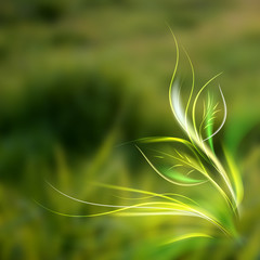 Beautiful abstract lights over grass blur background.
