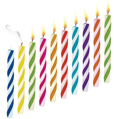 Set of birthday multicolored candles.