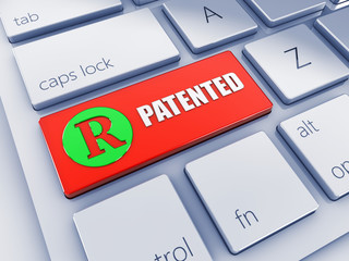 Red Patented key with green icon , pc keyboard