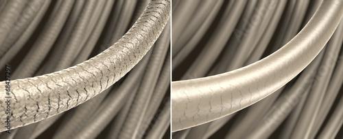 canvas print picture Haar-Struktur - strapaziertes und gesundes Haar: 3D-Illustration
