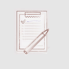 Sketch illustration of clipboard for outsource.