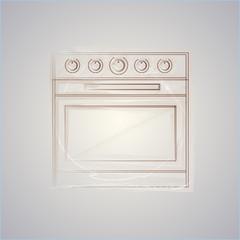 Sketch illustration of oven