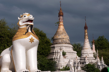 Large lion guardian at Maha Muni temple,Myanmar.