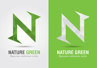 N Nature. An icon from alphabet letter font N. Creative marketin