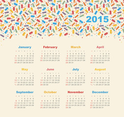 Calendar 2015 year with ice cream